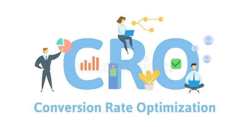 CRO, оптимизирование конверсионного курса Концепция с людьми, письмами и значками r r бесплатная иллюстрация