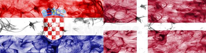 Croacia contra la bandera del humo de Dinamarca, finales cuartos, mundial 2018, Moscú, Rusia del fútbol stock de ilustración