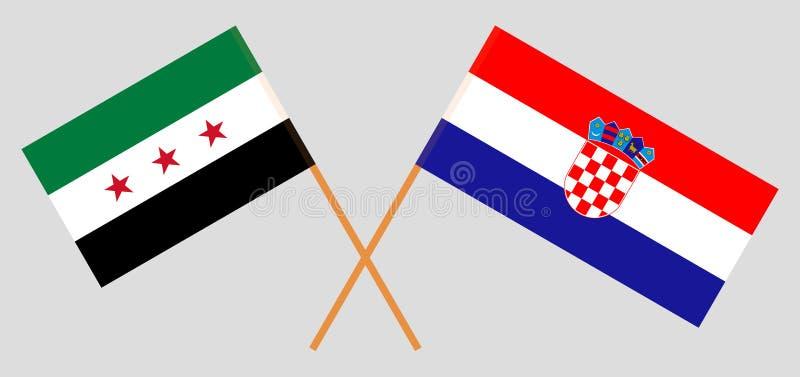 Croacia y gobierno provisional de Siria Las banderas del croata y de la coalición Colores oficiales Proporci?n correcta Vector stock de ilustración