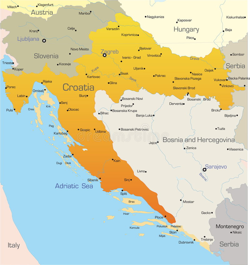 Croatia Map Stock Vector Illustration Of East Planet 27962743