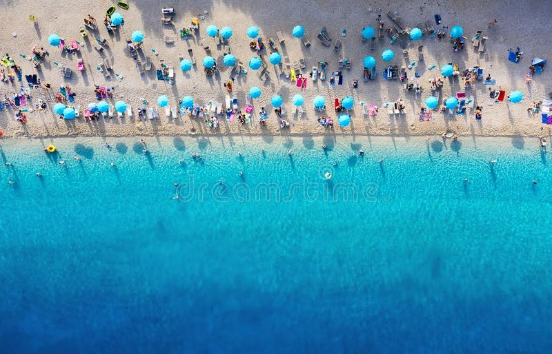 Croatia. Aerial view on the beach. Panoramic landscape. Beach and turquoise water. Top view from drone at beach and azure sea. stock photos