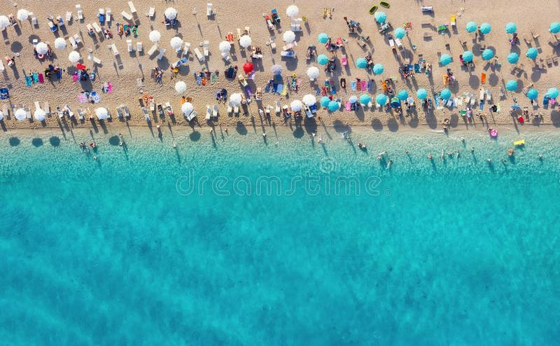 Croatia. Aerial view on the beach. Panoramic landscape. Beach and turquoise water. Top view from drone at beach and azure sea. royalty free stock images