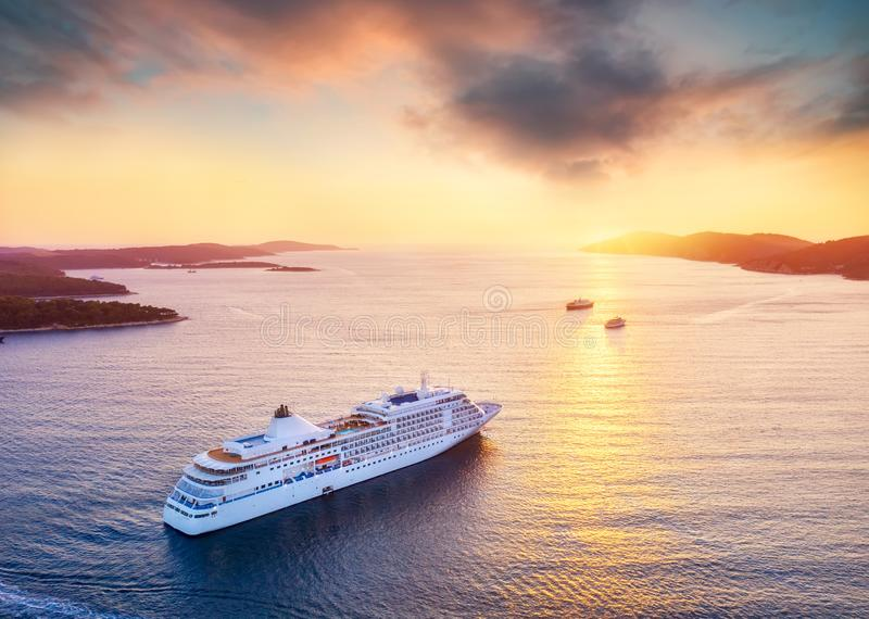 Croatia. Aerial view at the cruise ship during sunset. Adventure and travel.  Landscape with cruise liner on Adriatic sea. Luxury. Cruise. Travel - image stock images