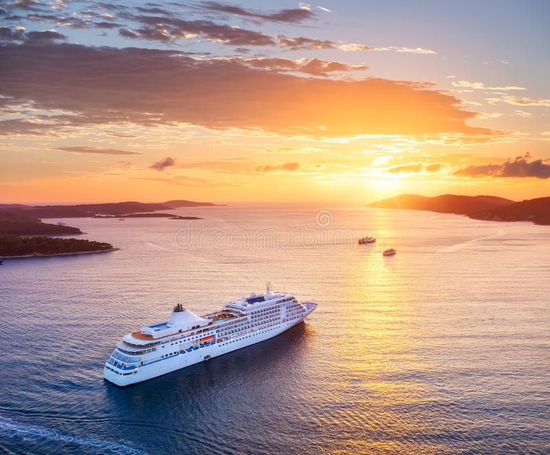 Croatia. Aerial view at the cruise ship during sunset. Adventure and travel. Landscape with cruise liner on Adriatic sea. Luxury. Croatia. Aerial view at the stock photography