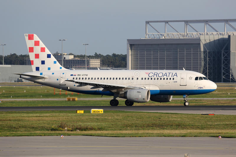 Croatia Airlines Airbus A319 airplane. Frankfurt, Germany - September 17, 2014: A Croatia Airlines Airbus A319 taxiing at Frankfurt International Airport (FRA) royalty free stock images