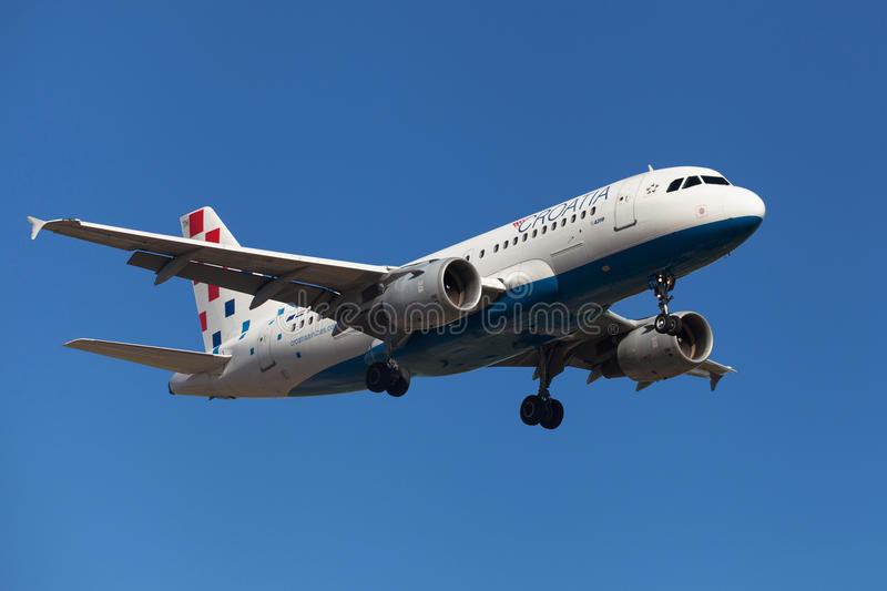 Croatia Airlines Airbus A319. Approaching to El Prat Airport in Barcelona, Spain royalty free stock images