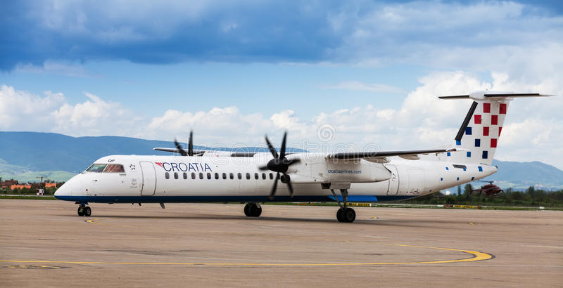 Croatia Airlines Dash 8 On Tarmac At Zagreb Airport Editorial Stock Image Image Of Prop Board 30752089