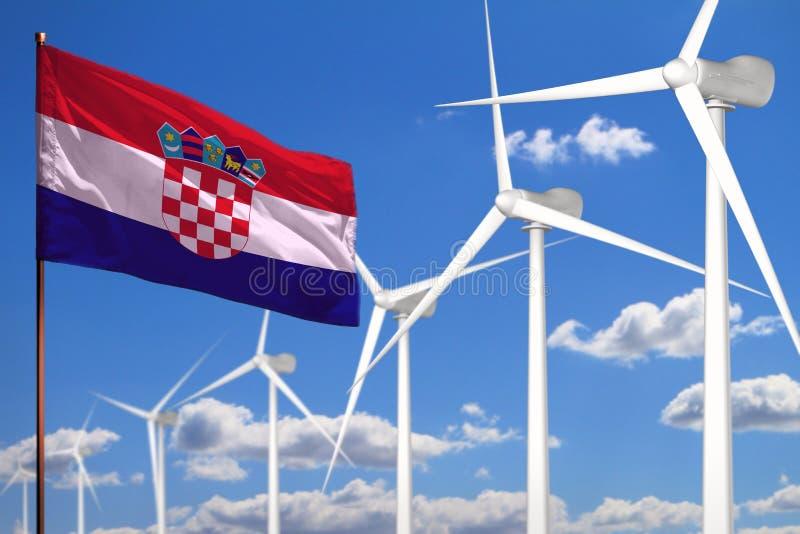 Croatia alternative energy, wind energy industrial concept with windmills and flag industrial illustration - renewable alternative stock illustration