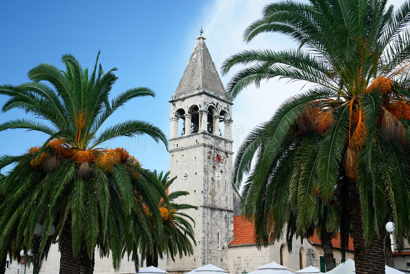 Croatia, church tower, palm trees royalty free stock photography