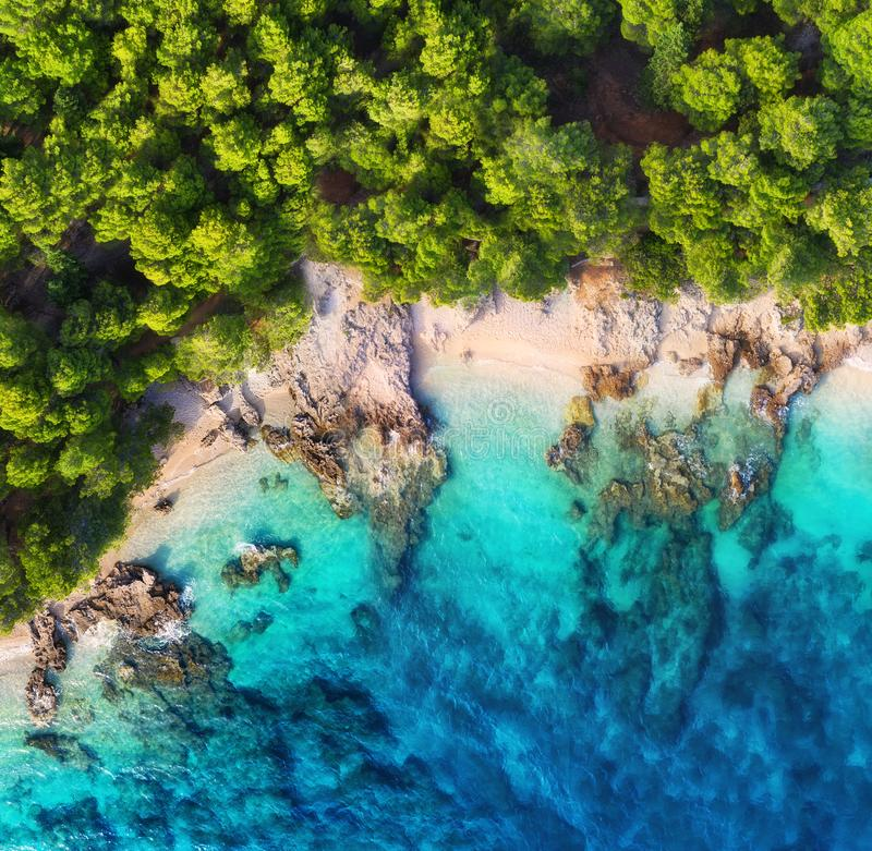 Croatia. Coast as a background from top view. Turquoise water background from top view. Summer seascape from air. stock images