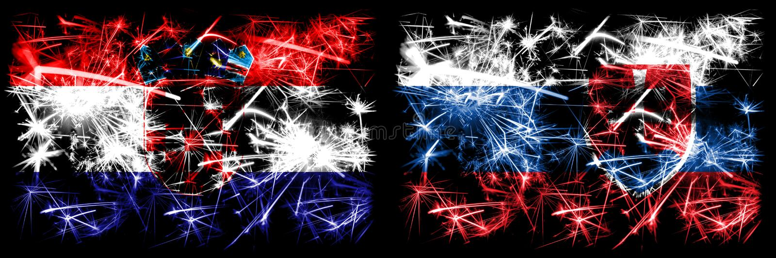 Croatia, Croatian, Slovakia, Slovakian, flip sparkling fireworks concept and idea flags royalty free illustration