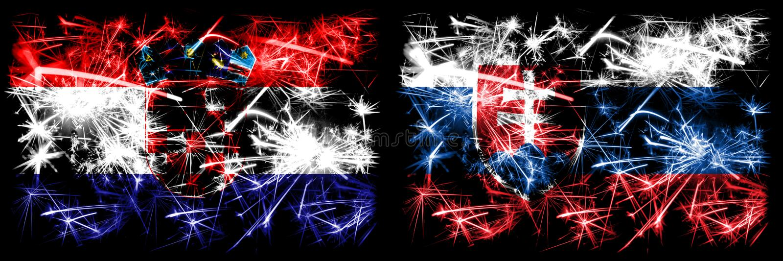 Croatia, Croatian, Slovakia, Slovakian sparkling fireworks concept and idea flags royalty free illustration