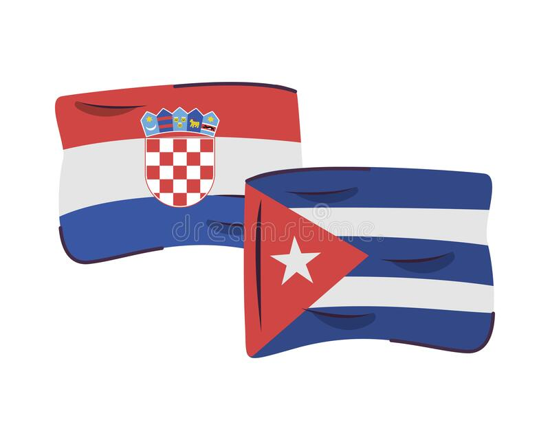 Croatia and cuba flags countries isolated icon. Vector illustration design vector illustration