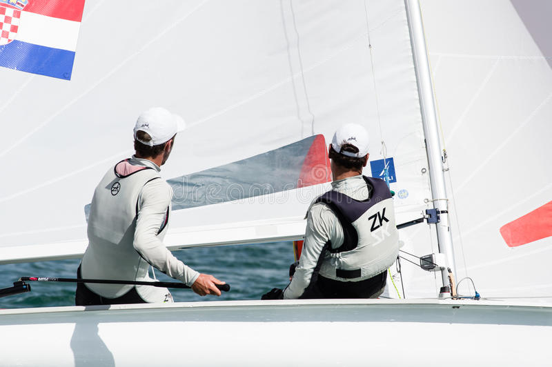 Croatia finishes 4th at the ISAF Sailing Wold Cup in Miami. Miami, USA, February 1, 2014 - Croatia finished 4th at the ISAF Sailing World Cup in Miami. The event stock image
