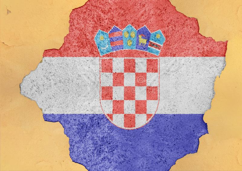 Croatia flag in big concrete cracked hole and broken material facade. Structure stock image