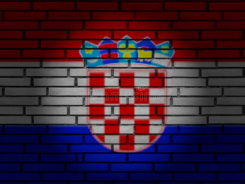 Croatia flag brick wall royalty free stock images