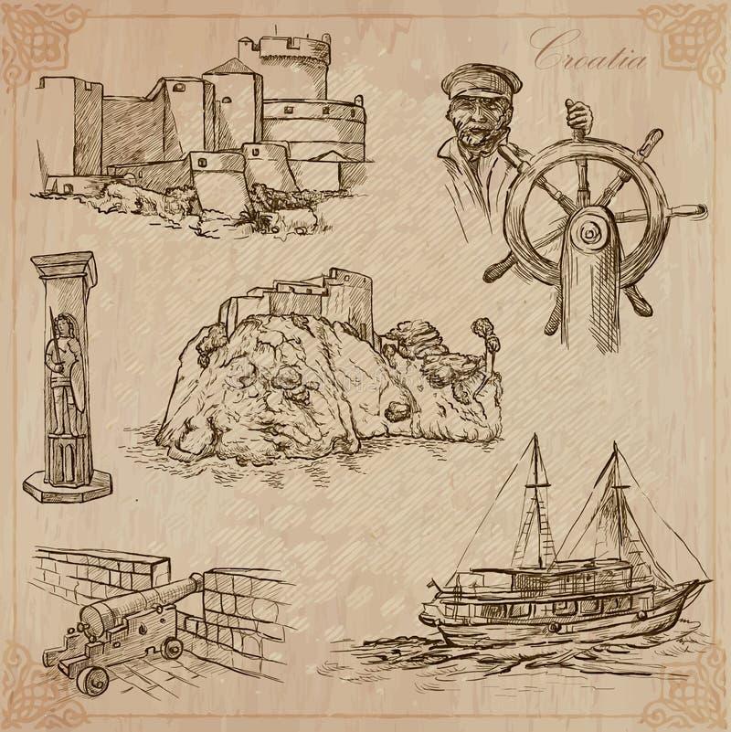 Free Croatia. Hand Drawn Vector Pack. Royalty Free Stock Photo - 48607775