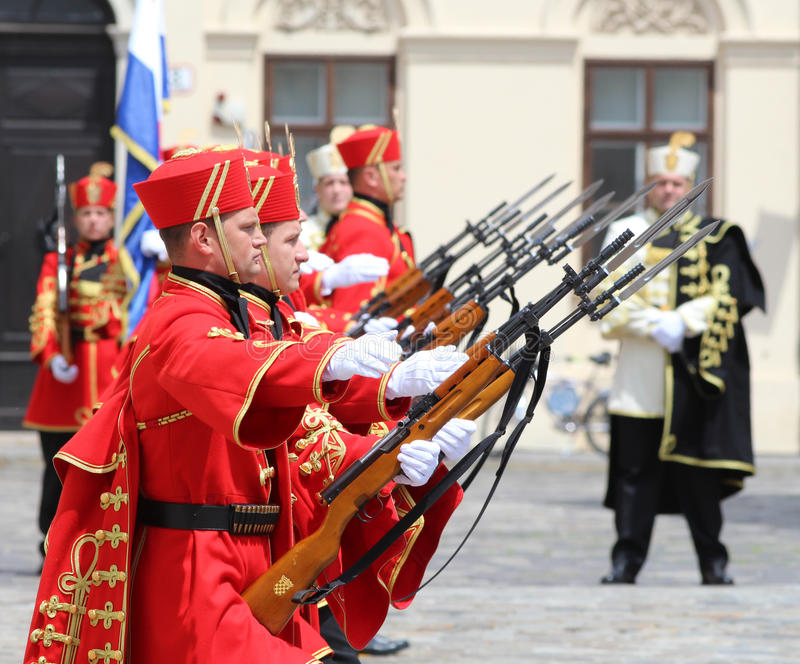 Croatia / Honor Guard Battalion / Aligned. Honor Guard Battalion is a military unit of Armed Forces of the Republic of Croatia that performs protocol tasks for royalty free stock photography