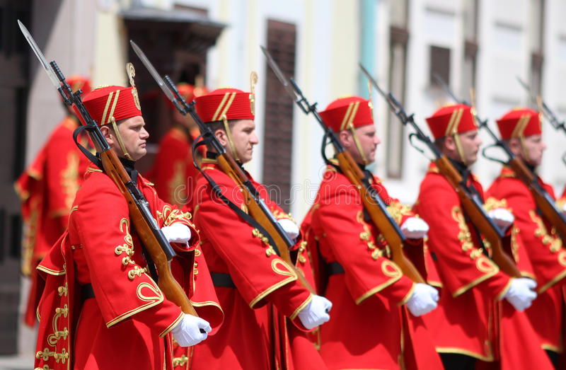 Croatia / Honor Guard Battalion / Bayonets. Honor Guard Battalion is a military unit of Armed Forces of the Republic of Croatia that performs protocol tasks for royalty free stock images