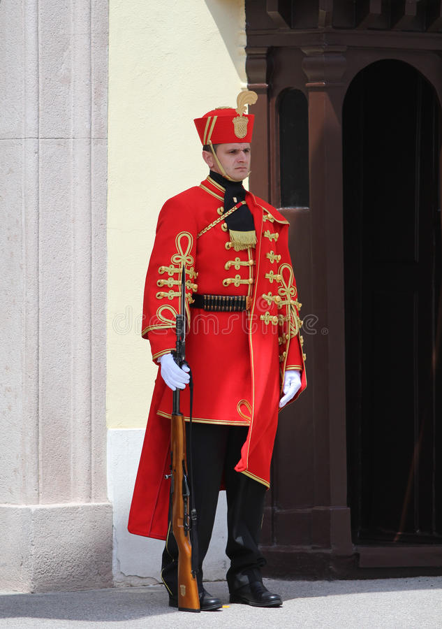 Croatia / Honor Guard Battalion / Guarding. Honor Guard Battalion is a military unit of Armed Forces of the Republic of Croatia that performs protocol tasks for royalty free stock photo