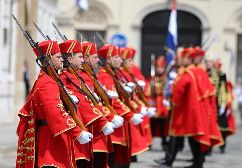 Croatia / Honor Guard Battalion / Guns And Bayonets. Honor Guard Battalion is a military unit of Armed Forces of the Republic of Croatia that performs protocol stock images
