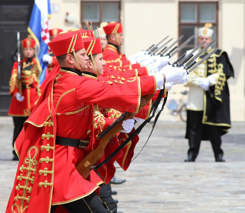 Croatia / Honor Guard Battalion / Perfection. Honor Guard Battalion is a military unit of Armed Forces of the Republic of Croatia that performs protocol tasks royalty free stock photo
