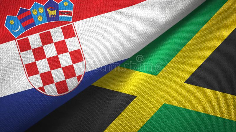 Croatia and Jamaica two flags textile cloth, fabric texture royalty free illustration