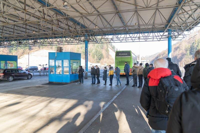 CROATIA - JANUARY 08, 2020: Croatia Slovenia Border and Customs Check for Passangers. Croatia Slovenia Border and Customs Check for Passangers Leaving Croatia stock photography