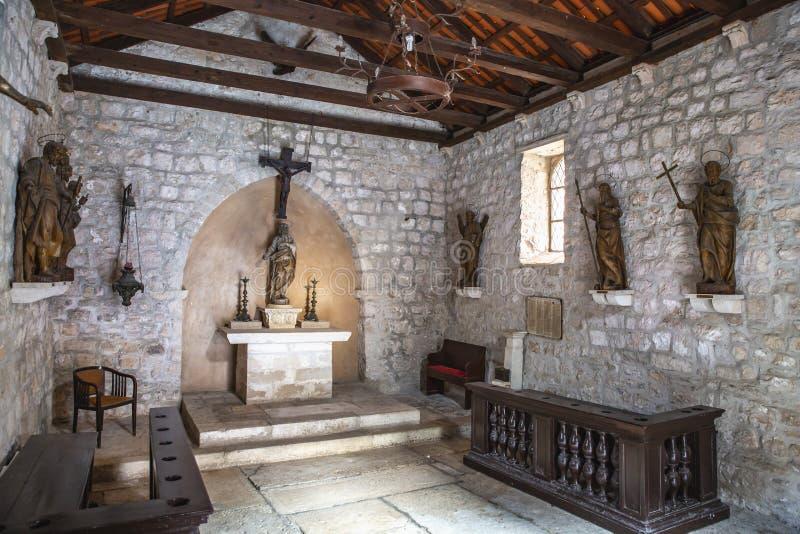 Croatia, Korcula Casa de Marco Polo y la iglesia de San Pedro foto de archivo libre de regalías