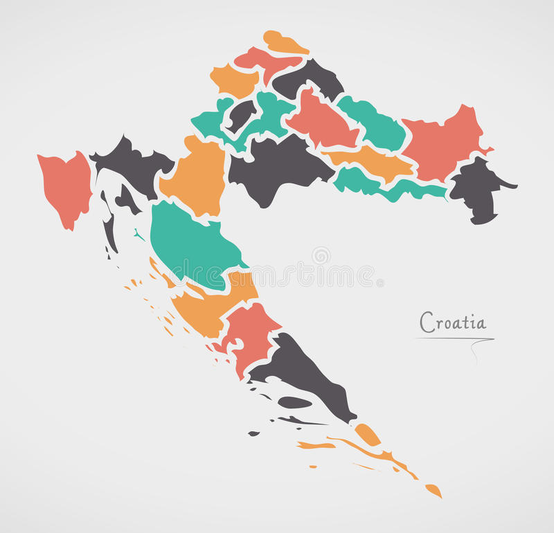 Croatia Map with states and modern round shapes. Illustration stock illustration
