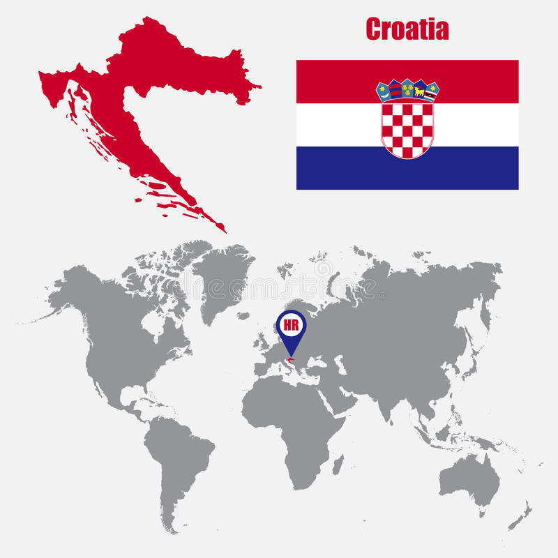 Croatia map on a world map with flag and map pointer vector download croatia map on a world map with flag and map pointer vector illustration stock gumiabroncs