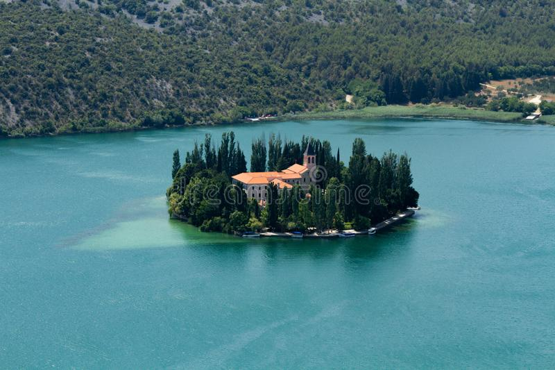 Croatia, Monastery, Monks Island, Lake island, Visovac Islnd royalty free stock images