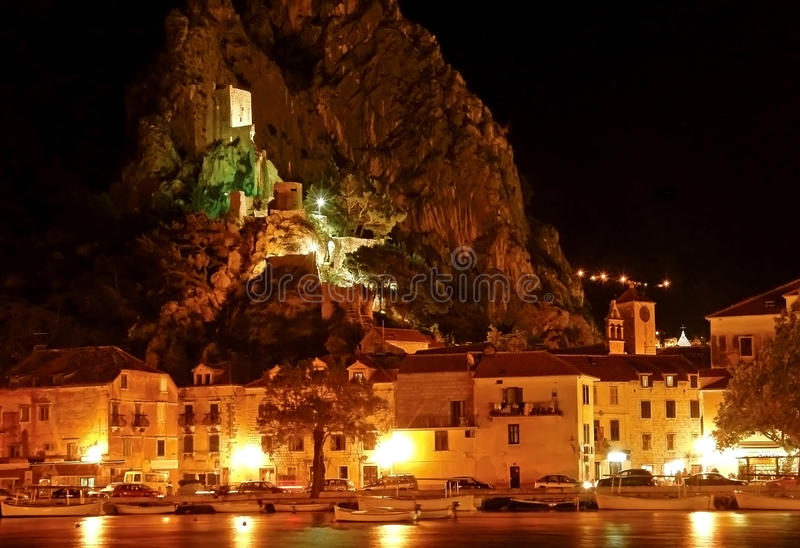 Croatia - Omis and old fort Mirabela at night stock photos