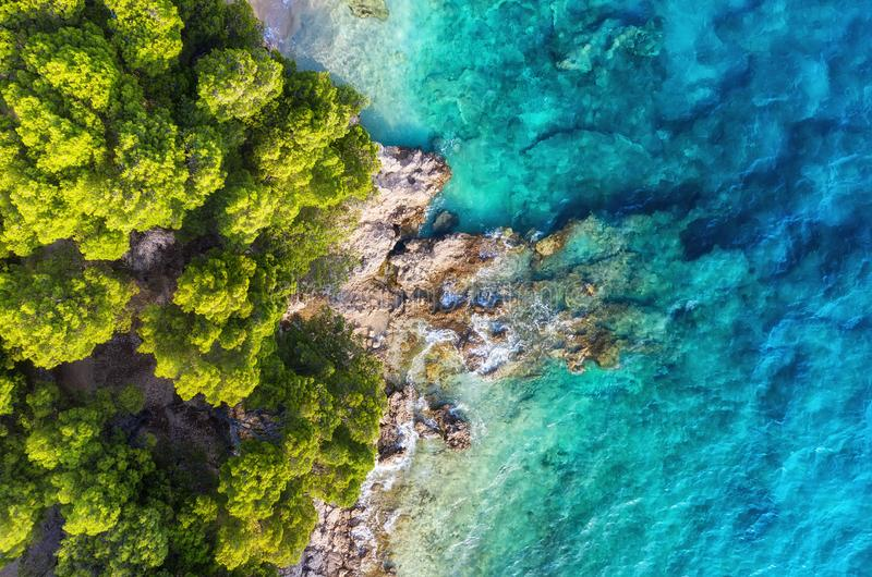 Croatia. Panoramic coast as a background from top view. Turquoise water background from top view. Summer seascape from air. royalty free stock photo