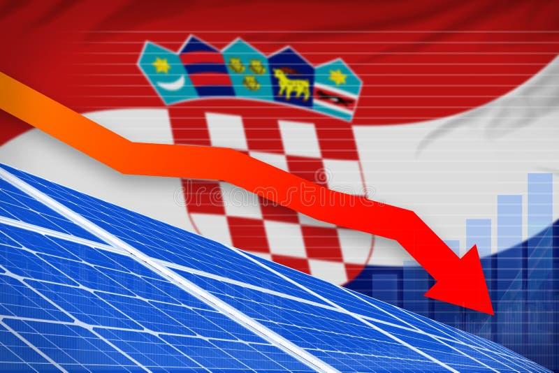 Croatia solar energy power lowering chart, arrow down - modern natural energy industrial illustration. 3D Illustration vector illustration