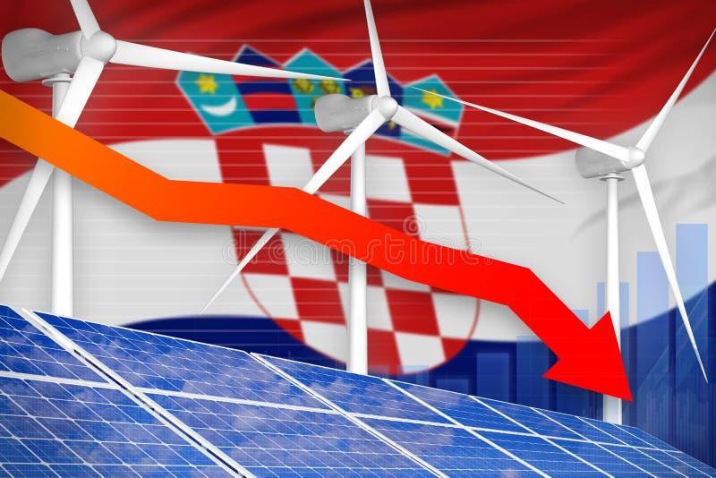 Croatia solar and wind energy lowering chart, arrow down - environmental natural energy industrial illustration. 3D Illustration vector illustration