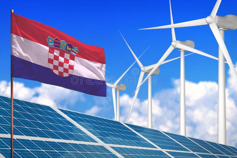Croatia solar and wind energy, renewable energy concept with solar panels - renewable energy against global warming - industrial stock illustration