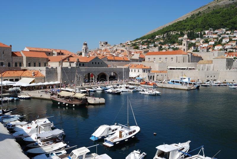 Dubrovnik. Croatia, Southern Dalmatia, Dubrovnik harbor stock photos