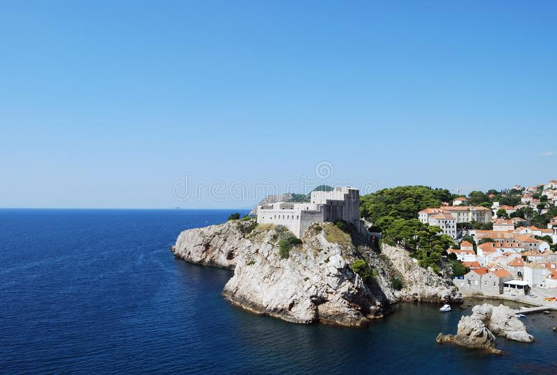 Dubrovnik. Croatia, Southern Dalmatia, View of the Dubrovnik fortress royalty free stock image