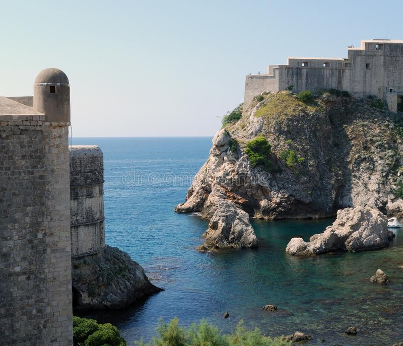 Dubrovnik. Croatia, Southern Dalmatia, View of the Dubrovnik fortress stock photo