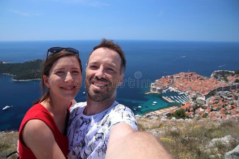 Croatia tourist selfie stock photo