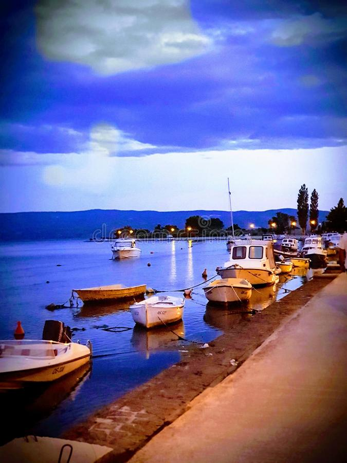 Croatia vacation holiday evening row boat port beautiful colors royalty free stock images