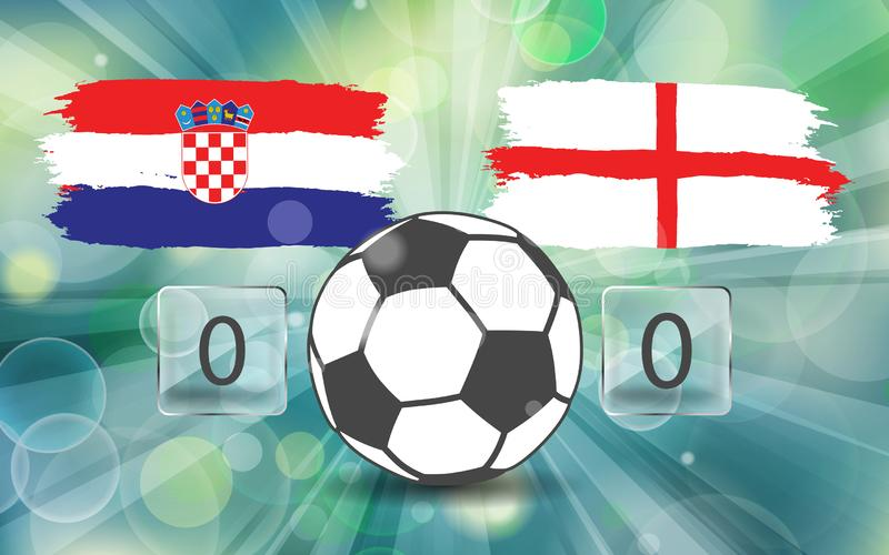 Croatia vs England. football ball icon on Croatian and England f royalty free illustration