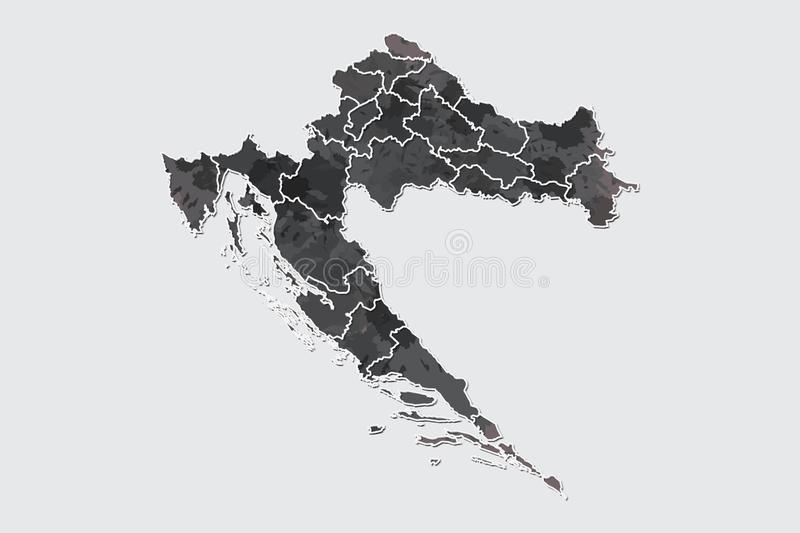 Croatia watercolor map vector illustration of black color with border lines of different regions or counties on light background. Using paint brush in page royalty free illustration