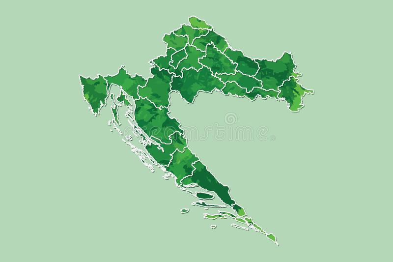 Croatia watercolor map vector illustration of green color with border lines of different regions or counties on light background. Using paint brush in page vector illustration
