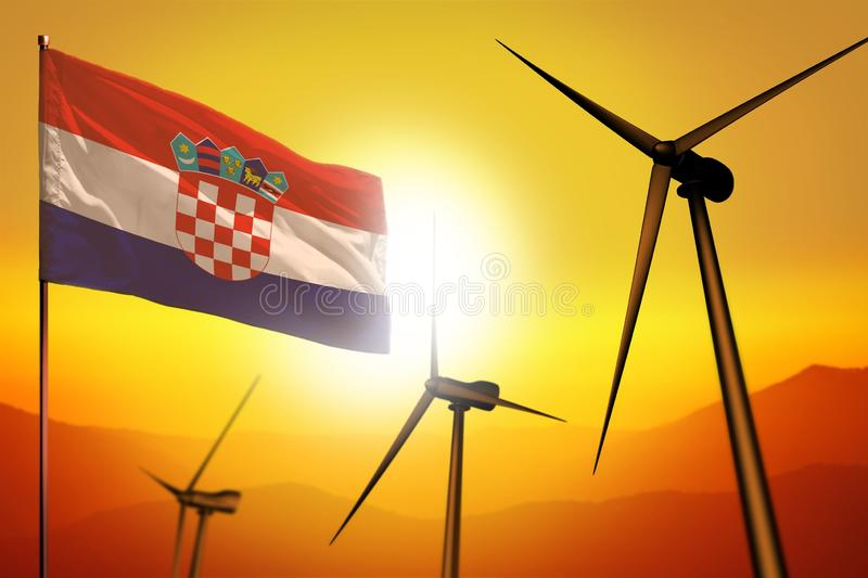 Croatia wind energy, alternative energy environment concept with wind turbines and flag on sunset industrial illustration - vector illustration