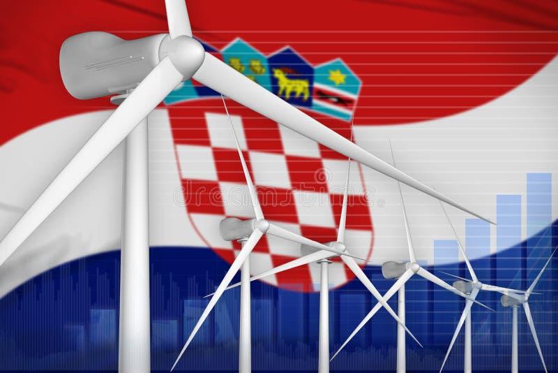 Croatia wind energy power digital graph concept - environmental natural energy industrial illustration. 3D Illustration royalty free illustration