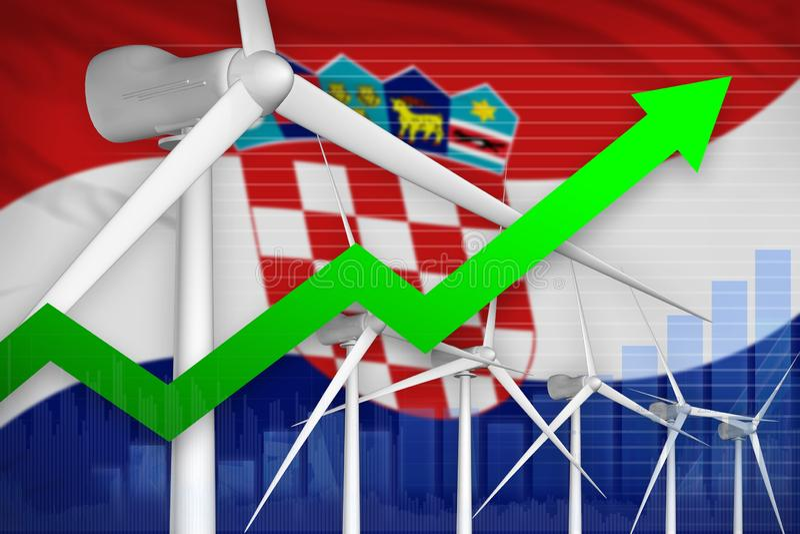 Croatia wind energy power rising chart, arrow up - environmental natural energy industrial illustration. 3D Illustration stock illustration
