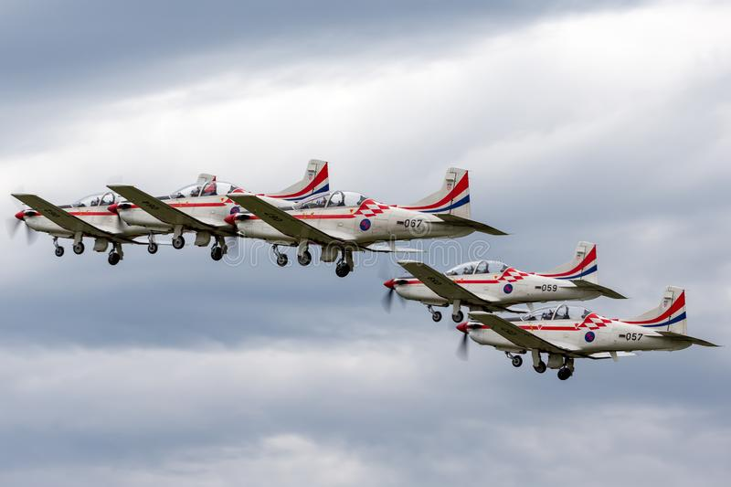 Croatian Air Force Pilatus PC-9M military trainer aircraft of the Wings of Storm formation aerobatic display team stock photography