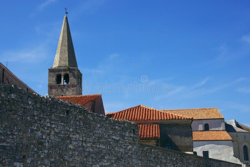 Croatian buildings behind a wall